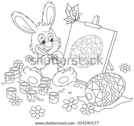 Happy Easter Bunny drawing Easter egg on an easel, a black and white vector illustration for a coloring book - stock vector