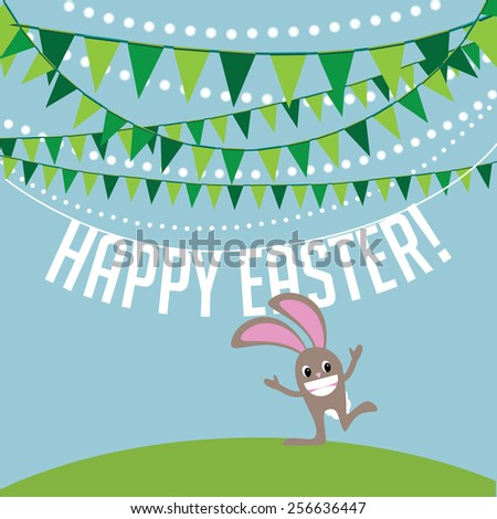 Happy Easter bunny for greeting card, ad, promotion, poster, flier, blog, article - stock vector