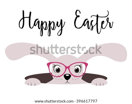 Happy Easter bunny girl card with glasses on white background - stock vector