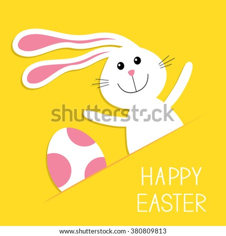 Happy Easter. Bunny rabbit hare and pink painted egg in the paper pocket. Baby greeting card. Yellow background. Flat design. Vector illustration - stock vector