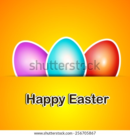 Happy Easter card background with bunch of colorful easter eggs. - stock vector