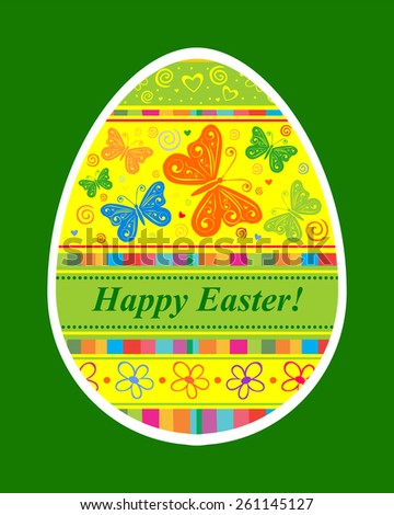 Happy Easter Card. Easter egg. Vector Illustration  - stock vector