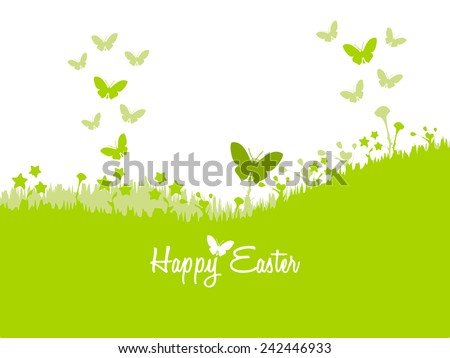 Happy Easter card illustration . Spring butterflies and green grass - stock vector