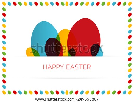 Happy Easter card (poster) with colorful eggs in egg frame - stock vector