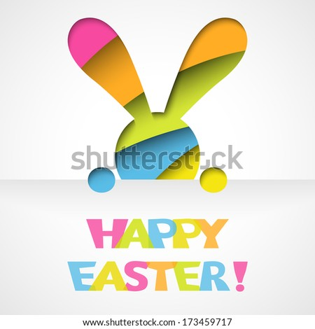 Happy easter card with bunny and font on white paper background. Vector illustration for funny holiday design. Greeting card with cut out colorful rabbit. Pink, orange, green, blue and yellow colors. - stock vector