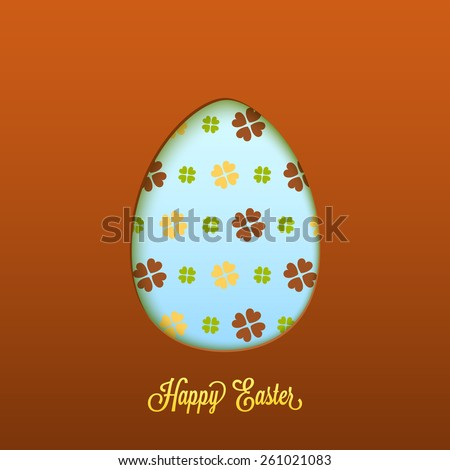 Happy Easter card with cut egg - stock vector