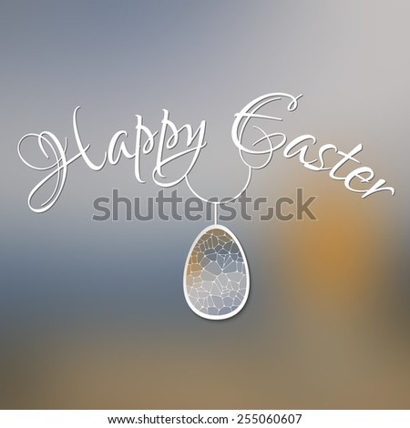 Happy Easter card with 3d geometric egg on blurred background. - stock vector