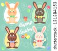 Happy Easter card with easter bunnies, eggs and text. Abstract - stock vector