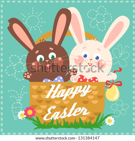 Happy Easter card with easter bunny and chocolate bunny in a basket and text on it. Abstract - stock vector