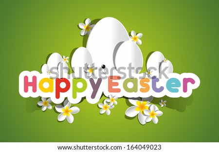 Happy Easter Card With Eggs And Spring Flowers vector illustration - stock vector