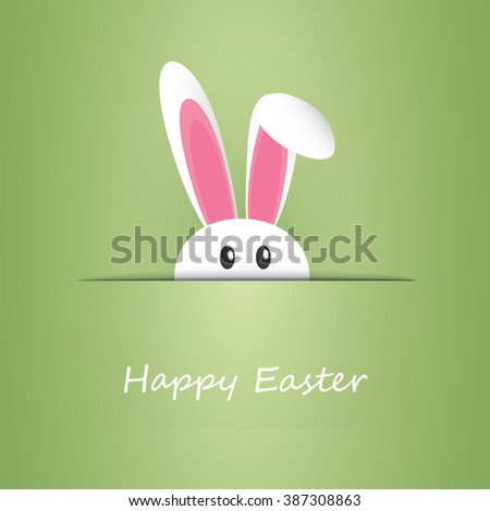 Happy Easter Card With Funny Bunny - stock vector