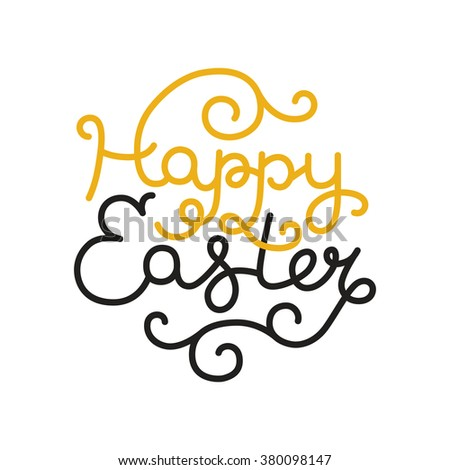 Happy easter card with holiday lettering. Vector easter background, typography greeting card - stock vector