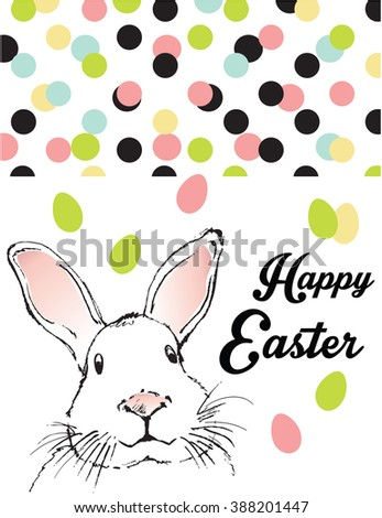 Happy Easter celebrations greeting card design with bunny - stock vector