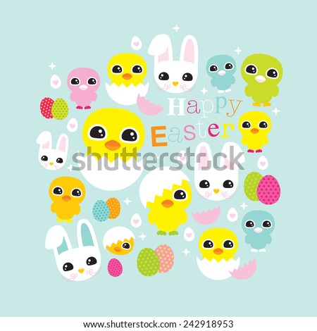 Happy easter chicken and little bunny illustration postcard cover greetings design template in vector - stock vector