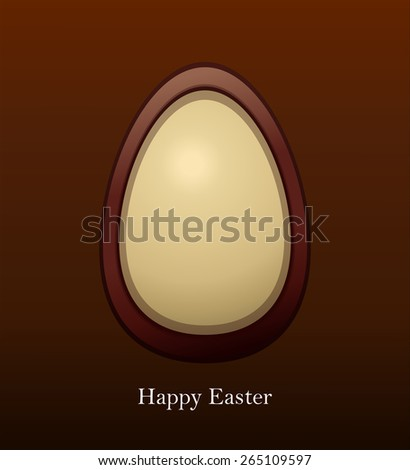 Happy Easter Chocolate Egg Vector Card Illustration. - stock vector