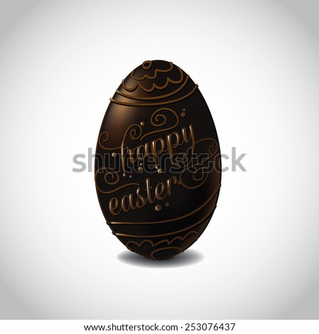 Happy Easter chocolate egg with fancy chocolate lettering and designs. EPS 10 Vector royalty free stock illustration for greeting card, marketing, poster, design, blog, invitation, social media - stock vector