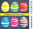 Happy easter colorful eggs (collection). Vector set of painted eggs (decoration). Striped eggs (icons). - stock vector