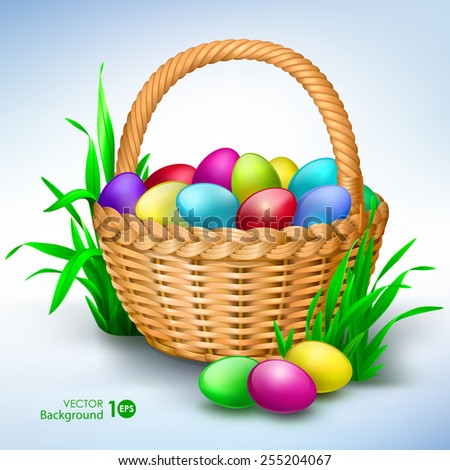 Happy easter. Colorful eggs in basket. Vector Eps 10. - stock vector