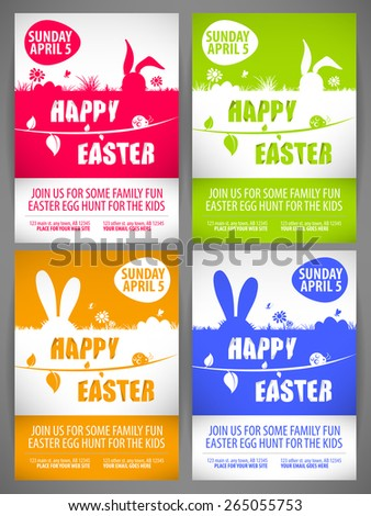 Happy easter colorful vector illustration Flyer templates Set with the big-eared rabbits silhouettes on the meadow - stock vector