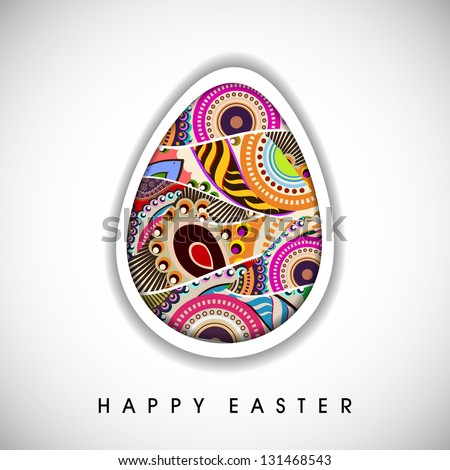 Happy Easter concept with colorful Easter egg on grey background, - stock vector