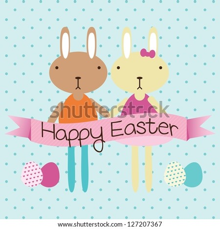 Happy Easter couple of bunnies on blue background. Vector Illustration - stock vector