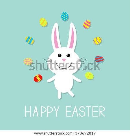 Happy Easter. Cute bunny rabbit  juggles egg. Flat design. Vector illustration - stock vector