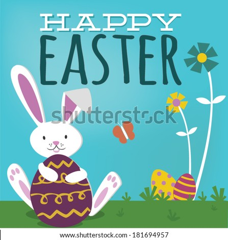 Happy Easter Cute Bunny Rabbit Spring Easter Eggs - stock vector
