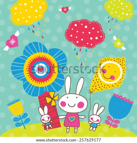 Happy Easter. Cute spring postcard with rabbit. - stock vector
