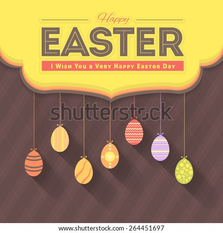 Happy Easter Day Greeting Card or Web Banner, Hanging Eggs Announcement Flat Background - stock vector