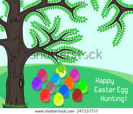 Happy Easter Egg Hunting greeting on a meadow containing colorful easter eggs for egg hunt. - stock vector