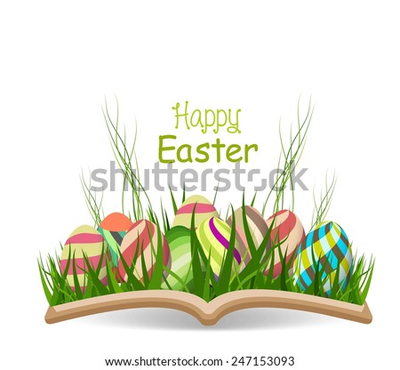 happy easter egg spring with grass in the book - stock vector