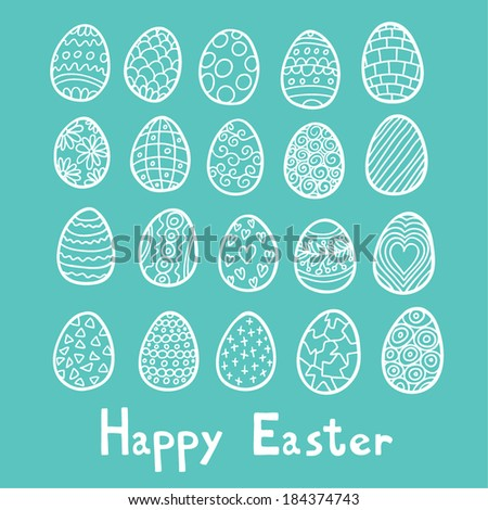 Happy Easter eggs blue background - stock vector