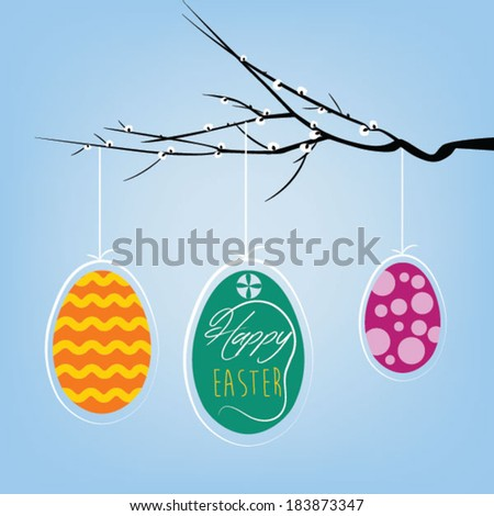 Happy Easter eggs greeting - stock vector
