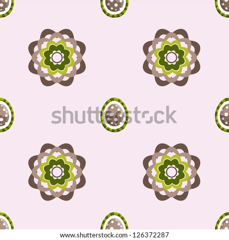 Happy Easter floral background, seamless pattern with eggs and flowers, vector illustration - stock vector
