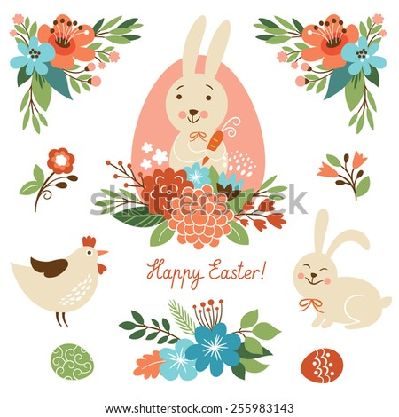 Happy easter graphic elements  - stock vector