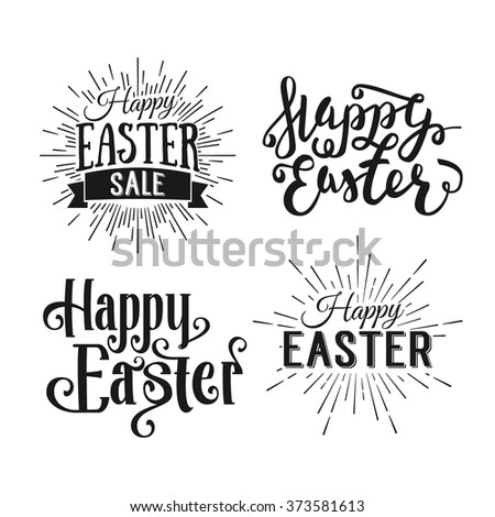 Happy Easter greeting card. Hand Drawn logo lettering. Easter Holidays lettering for invitation, greeting card, prints and posters. Typographic design. Vector illustration. - stock vector