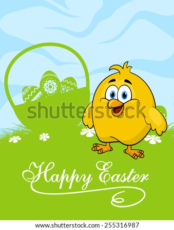 Happy easter greeting card template depicting cute cartoon yellow chicken standing near basket with decorated easter eggs on the green lawn with spring flowers - stock vector