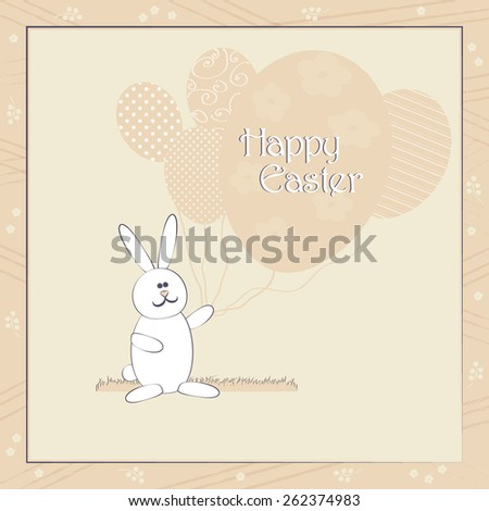 Happy Easter greeting card vector illustration in pastel colors. Cute Easter Bunny with balloons resembling egg shape. Traditional Spring holiday invitation & greeting card template. Layered editable. - stock vector