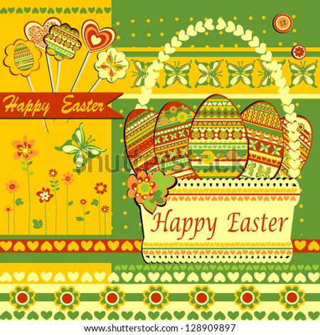 Happy Easter Greeting Card, Vector Version - stock vector