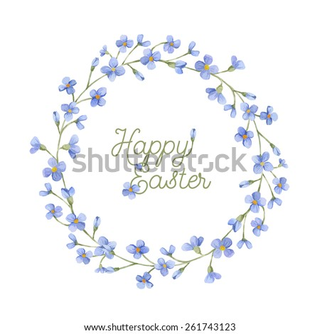 Happy Easter greeting card. Watercolor wreath with spring flowers, branches and lettering.  Hand drawn floral watercolor background. - stock vector