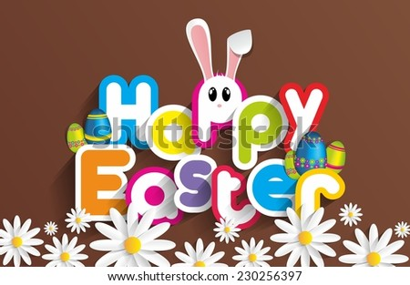 Happy Easter Greeting Card with Cartoon Rabbit vector illustration - stock vector