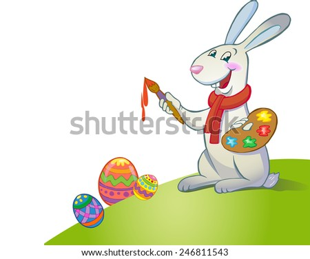 Happy Easter greeting card with Cute Easter Bunny on white background - stock vector