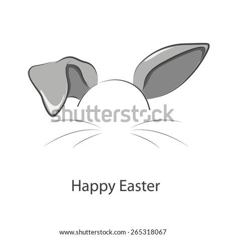 Happy Easter ! Illustration of long rabbit ears. - stock vector