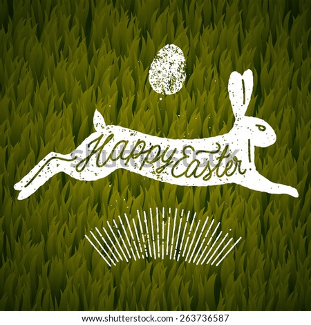 happy easter jumping rabbit calligraphy. grass background. vector illustration - stock vector