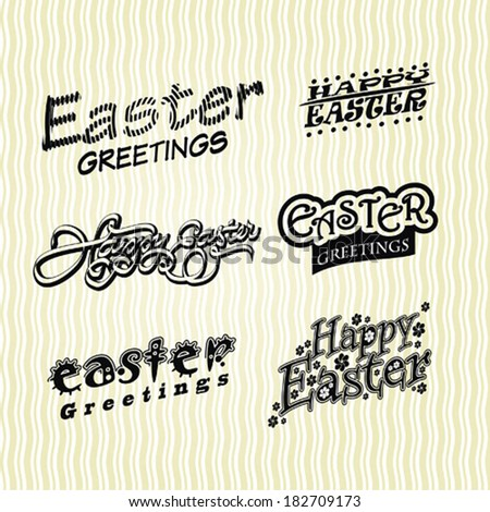Happy Easter labels set, handmade calligraphy; scalable and editable vector illustration - stock vector