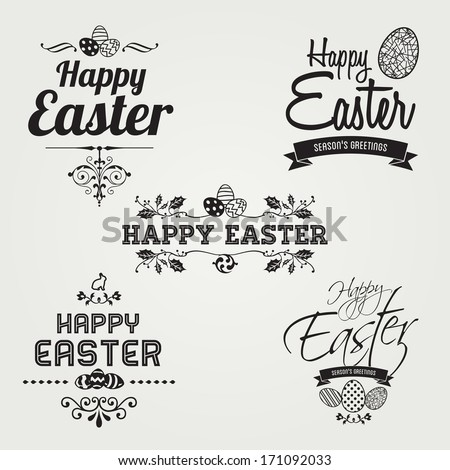 Happy Easter labels set, instant color change, vector design  - stock vector