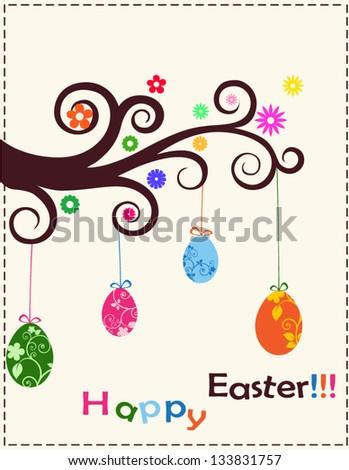 Happy easter. Multi color eggs - stock vector