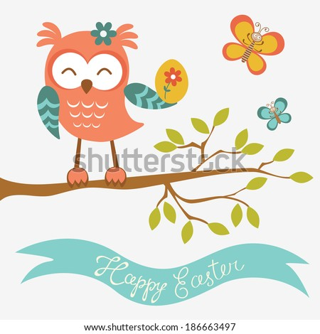 Happy Easter owl sitting on a branch holding Easter egg - stock vector