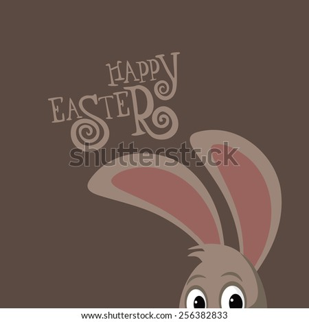 Happy Easter peeking bunny ears and hand drawn text EPS 10 vector royalty free stock illustration for greeting card, ad, promotion, poster, flier, blog, article, social media - stock vector