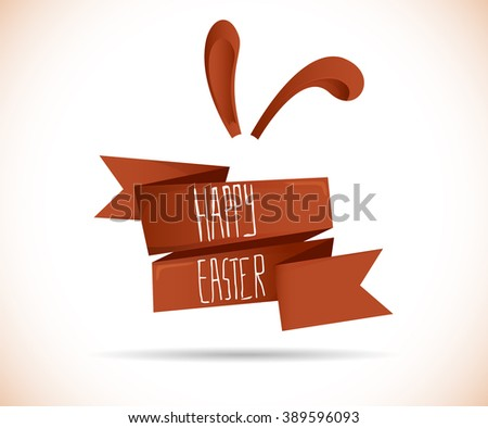 Happy Easter ribbon with bunny ears - stock vector
